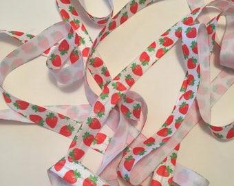FOE/Strawberry Fold Over Elastic/Strawberry FOE/Baby Foldover Elastic/Headband FOE/Headband Foldover Elastic/Strawberry Elastic
