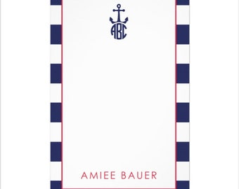 "Personalized Nautical Anchor Notepad with Monogram   Monogram Stationery  5.5"" x 8.5"""