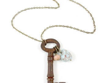 Key Necklace, Vintage Pendant Necklace, Antique Key Necklace, Key Gift, Key Jewelry, Boho Jewelry, Steampunk Key Necklaces for Women Gift
