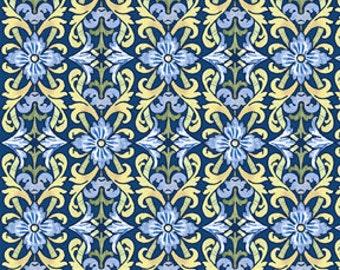 Splendor II Blue Flowers Fabric 1 Yard