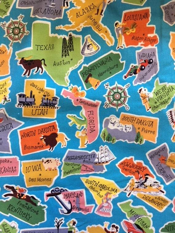 Staaten und Hauptstädte Stoff Baumwolle