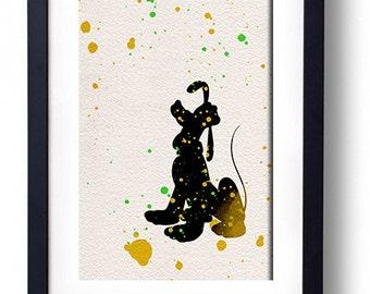 Pluto poster disney watercolor illustrations disney poster art children's room wall home decor nursery print