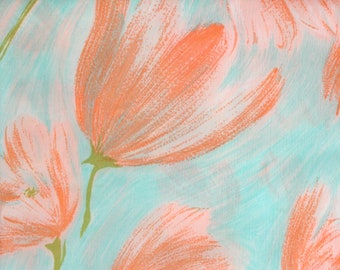 50's Aqua and Salmon Pink Textured Floral Fashion Fabric