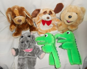 6 Plush Hand Puppets Dinosaur Twins Puppy Bear Hippo Toy LOT