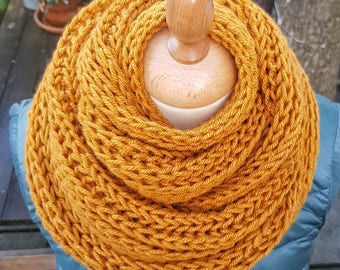 Golden Syrup - hand knit, unique, warm and cosy winter/autumn scarf.