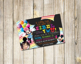 Minnie Mouse Invitation or Mickey Mouse 1st  2nd Birthday Personalized Invitation +Thank You Card Add On Custom Printable Any Age Add photo