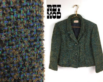 Sassy Vintage Early 50s Green, Blue, Brown, Black Tweed Blazer by Peggy Cain
