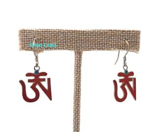 Tibetan OM Sterling Silver Earring