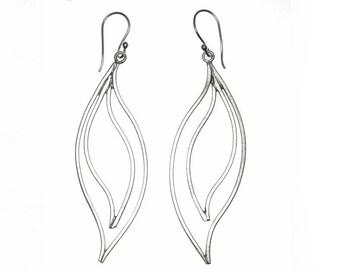 Sterling Silver Long Leaf Dangle Earrings, Handmade Simple Rustic Vintage style Boho Hippie Large Statement Earrings, gift for Her