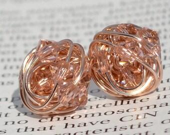Vintage Rose Crystal- Rose Gold Series- vintage rose Swarovski crystal beads and Rose gold Wire Wrapped Stud Earrings