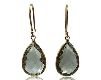 Prasiolite Natural 14K Yellow Gold Hallmark Dangle Earrings Natural Green Amethyst Gold Earrings