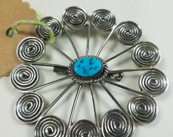 Vintage Native American Brooch Sterling Silver and Turquoise Southwestern New Mexico