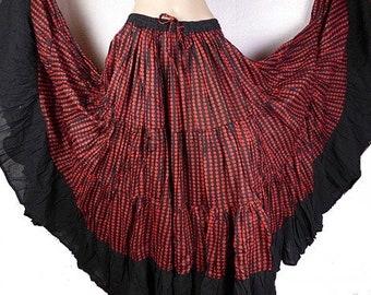 SKIRT FLAMENCO red, black red Gypsy skirt, flamenco skirt, skirt, Andalusian, Spanish skirt, afj1