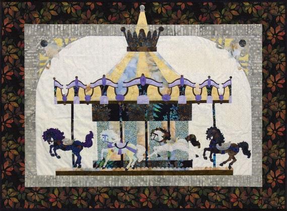 De La Promenade En Noir Block One Carousel Quilt Pattern Horse