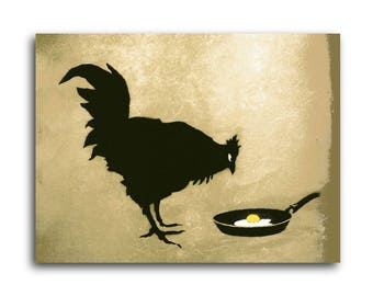 Banksy Chicken and Egg Brushed Aluminum Metal Print