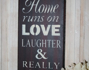 Beer Sign, This Home Runs on Love Laughter & Really Cold Beer, Bar Sign, Bar Decor, Bar Room Signage, Love Sign, Beer Sign Decor, Home Bar