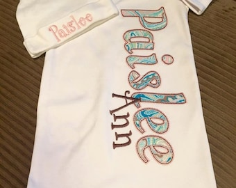 Baby Girl Gown Name Gown Personalized Baby Gift Coming Home Outfit Paisley Gown