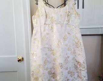 Vintage Chinese Silk Dress and Wrap--Cream, Gold and White