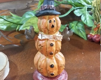 Fairy Garden Miniature Stacked Pumpkins (Resin) for your Fairy Garden,Halloween Pumpkins,Fall Harvest Decor,Stacked Pumpkin Man Witches Hat
