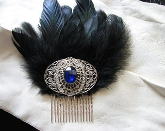 Silver hair comb | something blue | filigree | black hair comb | art nouveau
