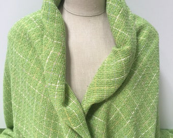 Lime Green Boucle Plaid - Sold by the Yard