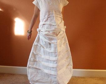 custom pleats roses linen dress / white linen dress / dress for wedding / plus size white dress / petite custom dress / women clothing /