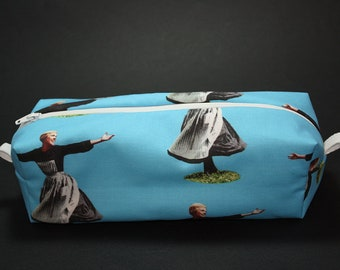Boxy Makeup Bag- The Hills Are Alive Print in Pink- Pencil Pouch - The Sound of Music, Julie Andrews