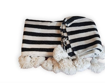 white with black stripes Moroccan Cotton  Pom Poms Blanket, Pom Pom cotton blanket, cover bed, cotton blankets, home décor.PC03
