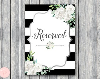 Silver White Floral Reserved sign, Wedding Reserved seating sign, Reserved table sign, Wedding Printable sign, Wedding decoration TH81
