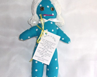 Stress Relief Doll DAMMIT or DANG IT Turquoise with White Hair