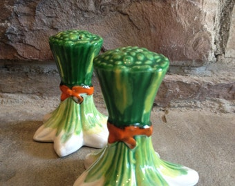 Onion Salt Pepper Shakers Italy Green & White Bunch Vegetable Cook / Chef Vintage Gift - #4509