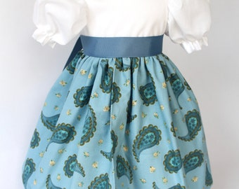 """Doll Dress for 18"""" doll, blue paisley print with ribbon tie"""