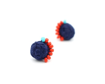 Braided Stud Earrings with Beads - Hand Sewn, Beaded Earrings - Colorful Stud Beaded Earrings by Ashdel