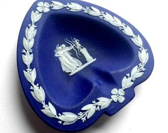 Wedgwood Portland Blue Spade Shaped Dish, Cobalt Blue Jasperware Ring Dish, Greek Mythology Wedgwood Heart Trinket Dish, Two Archer Wedgwood