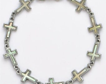 Genuine Mother of Pearl Shell Cross Bracelet