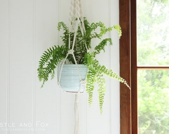 Large Macrame Plant Hanger - Natural Cotton Rope Hanger, Hanging Planter. Hand Knotted from Australian cotton rope | Free Shipping Australia