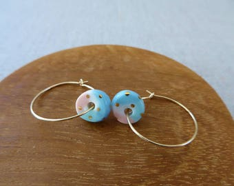 Small Gold Dot Colour Wheel Round Disc Hoop Earrings