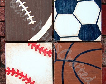 Vintage Sports 8x8 (Individual), Weathered Wood Wall Art
