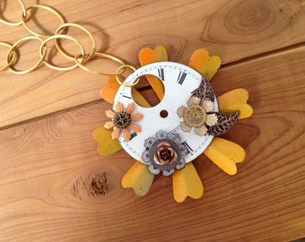 orange and gold flowered watch face necklace - 435