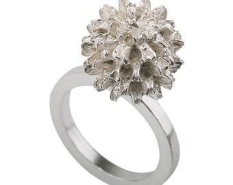 14K White Gold Floral Ring , Gold Flower Bud Ring , Flower Ring , Nature Ring , Unique Ring , Tree Ring , White Gold Ring
