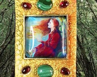 Celtic Goddess Brigid's Fire Pendant Necklace Original Art