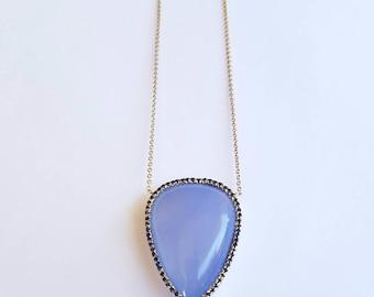 Chalcedony Pendant Sapphires 14k Gold Split Chain Necklace Handmade Jewelry Watch Video!