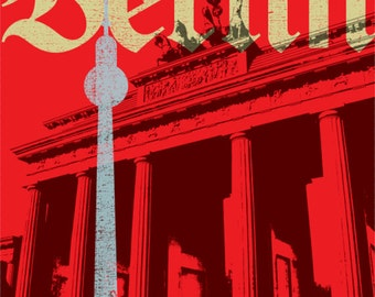 "Berlin Germany Art Print Red Modern Brandenburg Gate European City Large 16"" x 20"" Canvas-Wrapped Frame: Berlin"