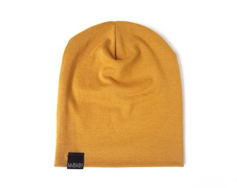 Stretch  Beanie / Mustard Yellow / Gold  / Toddler Beanie / Baby Beanie / Kids Beanie / Slouchy Beanie / Slouchy Toque / Baby Hat