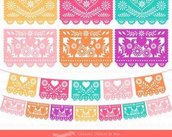 Papel Picado Clipart, Mexican Bunting Banner, Fiesta Bunting Banner, Wedding Bunting, Party Bunting, Invitations - CA078