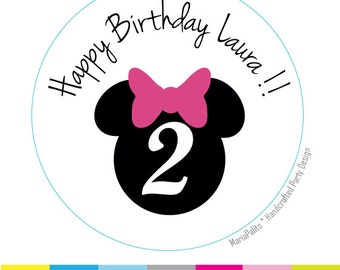 Minnie Mouse Stickers, Birthday PRINTED round Stickers, tags, Labels or Envelope Seals  A720