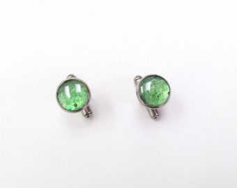 Small Green Cufflinks, recycled glass cufflinks, upcycled beer bottle, Glass, Holiday, Gift, Father's Day, New Orleans, Stainless Steel