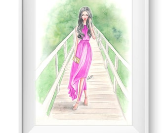Fashion illustration print, Fashion art, watercolor, girl art, summer, girls room art, vanity art, pink - A walk in Pink