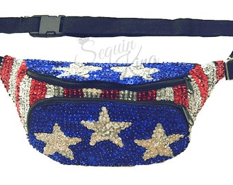 Patriotic Stars & Stripes Sequin Fanny Pack