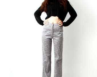 Floral Embroidery Pants / Silverr Pants / Fancy Pants / Glossy Pants / Straight Leg Pants / High Waisted Pants / Size M / L